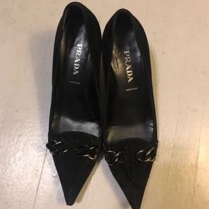 Prada Black Suede Kitten Heels 37